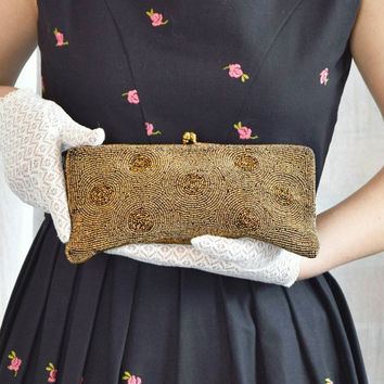 1950s Belgium Made Gold Beaded Purse Clutch