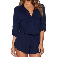 Young, Fabulous & Broke Malik Romper in Navy
