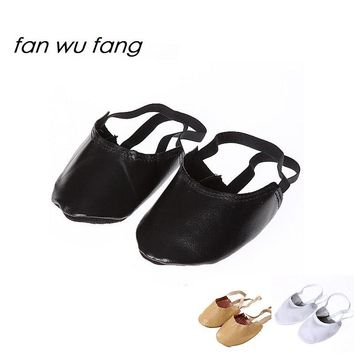 fan wu fang  New Leather Canvas Beige White Black Rhythmic Gymnastics Half Shoes Artistic Gym Shoes Ballet Toe Shoes Slippers