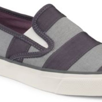 Sperry Top-Sider Mariner Grosgrain Stripe Slip-On Sneaker Graphite/CharcoalStripe, Size 6.5M  Women's Shoes
