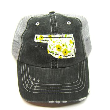 Oklahoma Hat - Black and Gray Distressed Trucker Hat - Yellow and Green Daisy  Applique - All United States Available