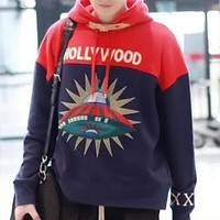 GUCCI Fashion Casual UFO Embroidery Hooded Top Sweater Pullover