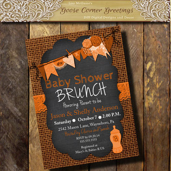 Burlap Chalkboard Baby Shower Invitation Brunch Rustic Rehearsal Dinner Wedding invitations Surprise any color Orange
