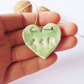 Personalized Heart Shaped Necklace Mint Green Car Accessories Valentines Day Gift Couples Jewelry Wedding Favors Custom Made Jewellery