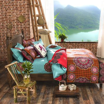 Bohemian Bedding Set 4pcs King Queen Size Cotton Bedspread Duvet Cover Bed Linen Comforter Bedding Sets Bed Sheets Home Textile