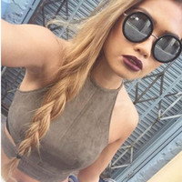 2016 New Summer Style Sexy Lace Up Women Cropped Tanks Tops Vest Camis Cute Sleeveless Suede Bodycon Bandage Crop Tops Camisole