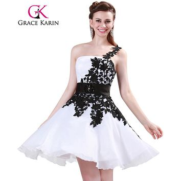 Grace Karin White and Black One Shoulder Lace Short Prom Dresses Ball Gown Knee Length School Party Dress Cute GK4288