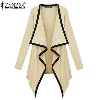 ZANZEA 2017 Women Cardigans Long Sleeve Irregular Hem Thin Coats Jackets Female Knitted Sweater Casual Poncho Cape Plus Size