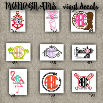 MONOGRAM vinyl decals | name | initial | decal | sticker | car decals | car stickers | laptop sticker - 82-90