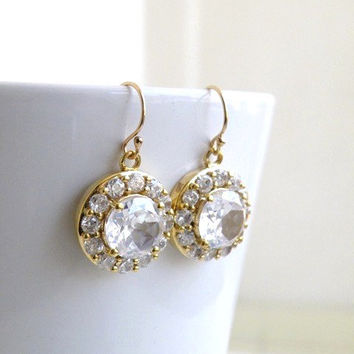 Bridal Earrings Cubic Zirconia Gold Filled Vintage Inspired Dangle Earrings - Cynthia E2Gold Wedding Jewelry