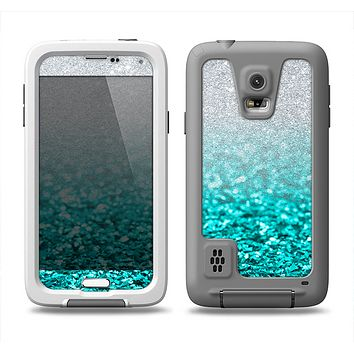 The Aqua Blue & Silver Glimmer Fade Samsung Galaxy S5 LifeProof Fre Case Skin Set