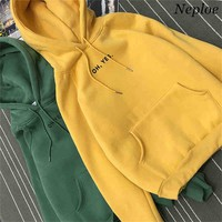 Neploe Autumn Winter New Hooded Sweatshirts Women Loose Fleece Thick Hoodies Pullovers Raglan Sleeve Women Tops 65510
