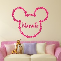 Minnie Mouse Name Wall Decal Vinyl Decals Sticker Custom Name Decals Personalized Baby Girl Name Decor Bedroom Nursery Baby Room Decor x142