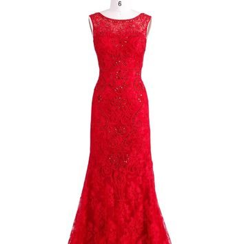 New Party Evening Dress for Women Tank Red Long Lace with Appliques Beading Mermaid Prom Gown