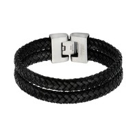 Stainless Steel Leather Braided Bracelet - Men (Black)