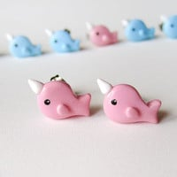 Cute Little Pink Narwhal Earrings
