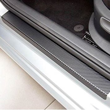 New Hot Universal 4 Pcs/Set 3D Black Carbon Fiber Style Car Door Sill Sticker Step Decoration Cover Decal DXY88