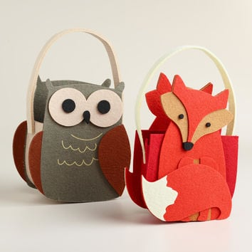 Woodland Owls Felt Baskets, Set of 2 - World Market