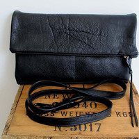 Black Leather Clutch , Fold over Clutch , cross body bag , black leather cross body clutch