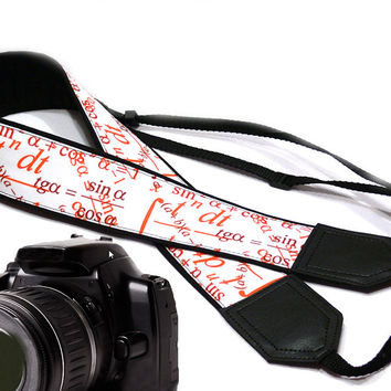 Math Camera Strap. Black Red and White Camera Strap. Original design Camera Strap. DSLR / SLR Camera Strap.  For Sony, canon, nikon, panasonic, fuji and other cameras.
