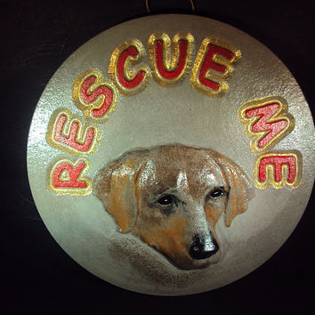 Stone Rescue Dog Wall Hanging, Hand Made, Hand Painted 3D, ooak painting
