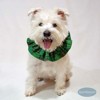 Lucky Irish Shamrocks St Patricks Day Dog Scrunchie Neck Ruffle