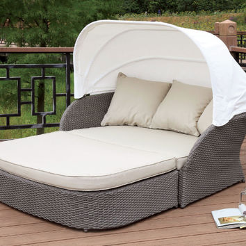 Furniture of america CM-OS2107 2 pc Aida light gray plastic wicker frame patio sofa with canopy