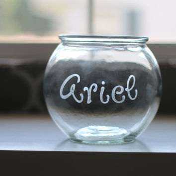 Personalized Fish Bowl - 2 Qt. Etched Glass with Fish Name