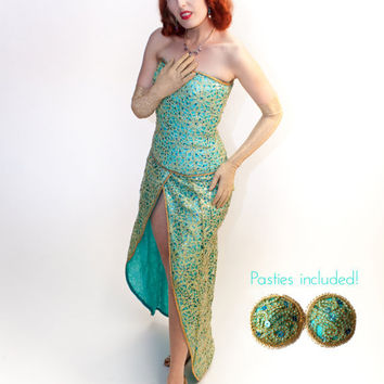 Mermaid Inspried Burlesque Costume Turquoise Silk Gold Blue Sequin Overlay Corset Skirt Matching Pasties