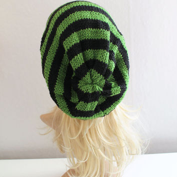 Black and Green Striped Baggy Beanie Slouchy Hat