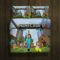 Set gift Minecraft hero fleece blanket large & 2 pillow cases #80708917,80708918(2) - Home Deco On Line