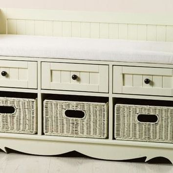 French Country 3-Basket Bench w/ Drawers - Ivory Fabric - Storage Benches -  Benches -  Entryway Furniture -  Furniture | HomeDecorators.com