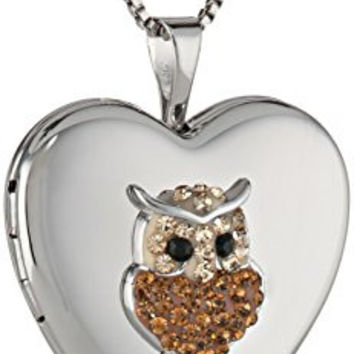Sterling Silver Heart Crystal Owl with Swarovski Elements Locket Necklace, 18""