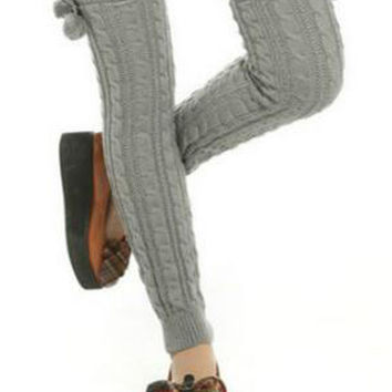 Gray Fluffy Ball Side Knitted Long Leg Warmers