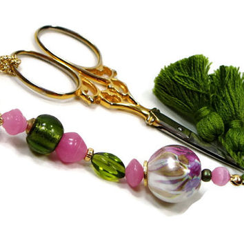 Summer Garden Scissor Fob, Cross Stitch, Needlepoint ,Sewing, Quilting, Gift, Pink, Green, Beaded, DIY Crafts