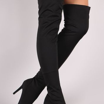 Wild Diva Lounge Fitted Elastane Pointy Toe OTK Boots