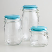 Glass Canisters with Aqua Clamp Lids - World Market
