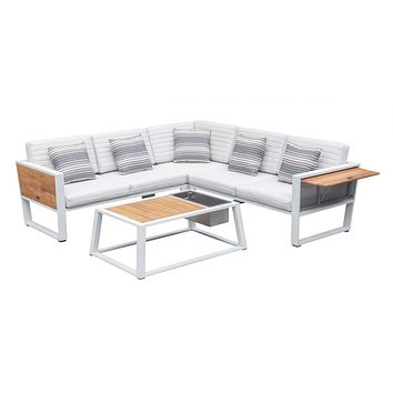 Outdoor Sectional Lounge Set (White) | Higold York