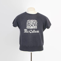Vintage 60s SWEATSHIRT / 1960s Soft Faded Navy Blue McCallum University Crewneck S