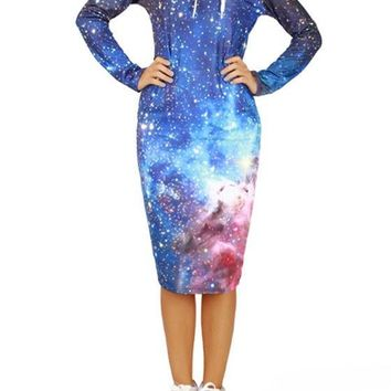 Galaxy Print Drawstring Pockets Thick Oversized Hooded Casual Sweatshirt Midi Dress