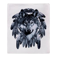Stadium Throw Blanket Wolf Dreamcatcher