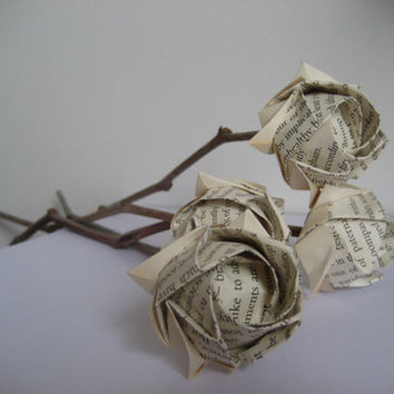 Thank you teachers-Paper flowers-Old bookpage Rose bouquet- origami roses with natural twigs- thanks gift-environment friendy - 10 stems