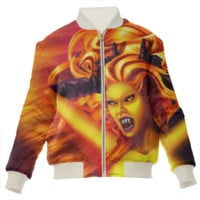Mad Dolores Goddess of fire Silk Bomber Jacket