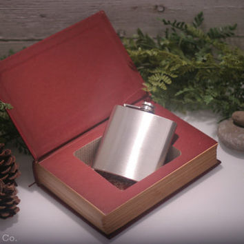 Vintage Hollow Book Safe & Whiskey Hip Flask - War and Peace (LEATHERBOUND)