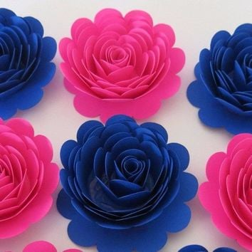 "Hot Pink and Royal Blue paper flowers, Gender Reveal Baby Shower Decorations, 6 roses, Surprise Birthday Party Table Centerpiece, 3"" rosettes, nursery wall art"