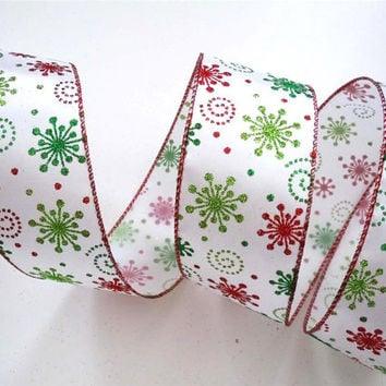 wired Christmas ribbon decorations lime green red startbursts Christmas ribbon wreaths make Christmas wired ribbon for bows garland 5yd