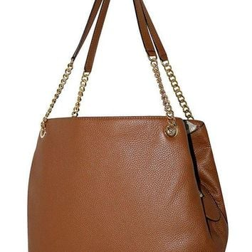 ESBON3F MICHAEL Michael Kors Women's Jet Set Item Large Shoulder Tote Leather Handbag LUGGAGE