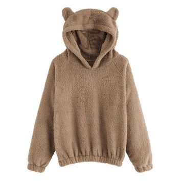 ef2260dcfca Women Hoodies Sweatshirt Kawaii Fleece Fur Coat 2018 Winter Warm