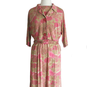 Vintage Dress Set Pink and Green Floral Design with Matching Cardigan Jacket and Belt - Size 20- Plus Size