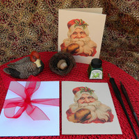 Vintage inspired Christmas Card featuring Victorian Santa. Set of 8.